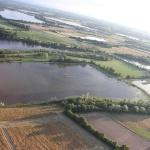Vue de la Dombes et les etangs ddepuis la nacelle de la montgolfière