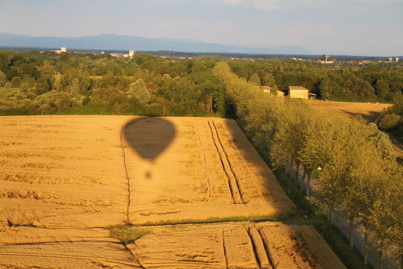 ombre de la montgolfière sur un champ